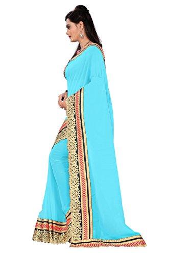 Jenny Fashion Women's Georgette Saree (Jodha_Sky_Blue)