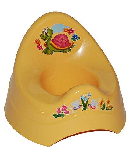 Unbekannt Töpfchen / Nachttopf - groß - mit großer Lehne + Spritzschutz - gelb Schildkröte Tiere - Babytöpfchen / Kindertopf / Lerntöpfchen - Toilettentrainer Klositz W..