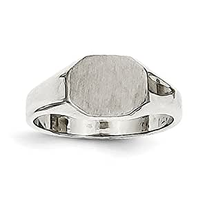 14ct White Gold Childs Signet Ring - Size F