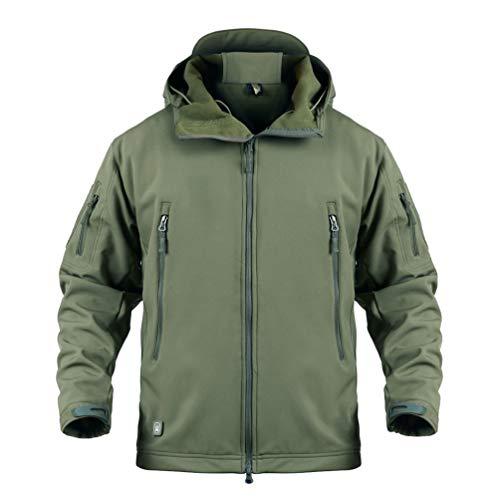 Yuandian uomo tattico camouflage softshell giacca autunno inverno outdoor militare pile fodera impermeabile antivento giubbotto con cappuccio trekking caccia sci cappotto verde l