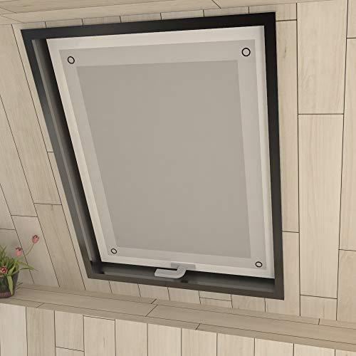 Eurohome Sonnenschutz Dachfenster Rollo ohne Bohren Weiß Verdunkelungsrollo mit Saugnäpfen für Fenster Dachfenster Jalousien 76 x 93 cm
