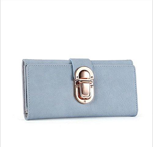 Hippolo Moda Portafogli di pelle Pulsante Borsa Signora Lungo Da Donna Borsetta (Pink) Blue