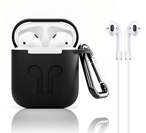 GiBot AirPods 1 und 2 Silikon Hülle mit Sportgurt, Airpod Hangbox mit rutschfester Hülle und Skin Zubehör für Apple Wireless AirPods Ladekoffer (Schwarz 4 in 1),Perfekt für Apple Airpods 2 Skin Case Zubehör