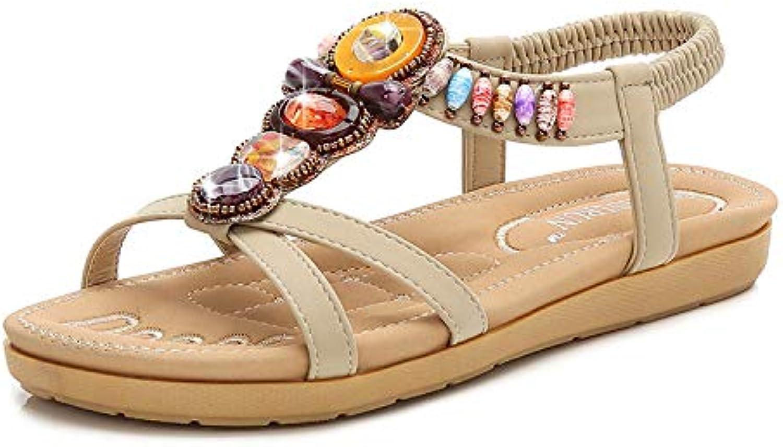 d0c67e714b3ba5 Qiusa Colorful Sandals Women Flat Flat Flat Bohemian Multi-color Beaded  Rhinestone Beach Shoes (Color   Beige