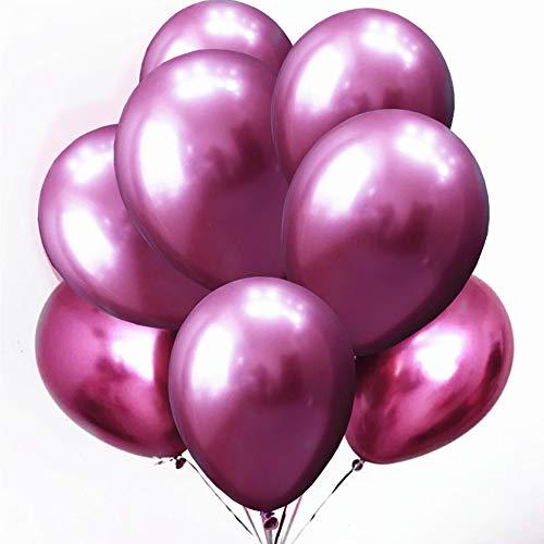 zooting 50 Stück Luftballons Metallic,Helium Ballons in Rot Metallischen Farben Metallfarbe Dekoration für Vintage Jugendweihe Junge Geburtstag Hochzeit JGA Hen Party Deko (XL 30cm)