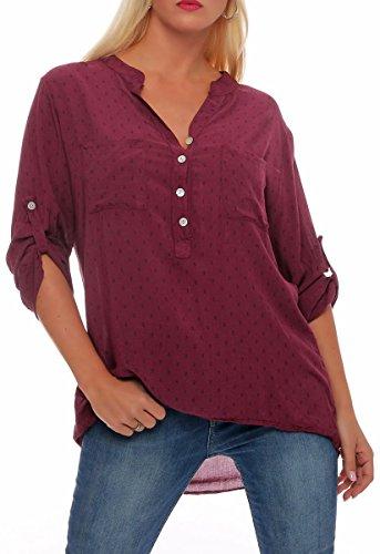 malito Damen Bluse mit Anker Print | Tunika mit ¾ Armen | Blusenshirt auch langarm tragbar | Elegant – Shirt 9013 (violett) (Print-bluse Leichte)