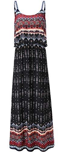 KorMei Damen Sommerkleid Ärmellos Boho A-Line Lang Kleid Maxikleid Party Strandkleid Schwarz&Wein XL (Kleider Sexy Schwarz Formale)