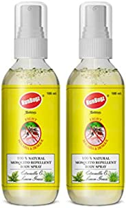 RunBugz Natural Mosquito Repellent Body Spray with Citronella and Lemon Grass – 100 ml (Pack of 2)