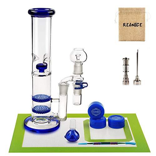 REANICE SUPER Bongs glass gut gemacht 18.8mm höhe 27cm +Non Stick Silikon Wachs Dab Boxcontainer + Öl Wachs Carving Tools Edelstahl + Antihaft-Silikon-Matte-Pad + Bong Kopf Glas Roh+titanium nail