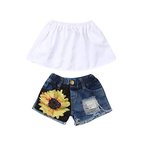 , Mode Sommer Mädchen Ärmellos Tube Top + Sunflower Printed Jeans Set (3-4 Jahre, Weiß) ()