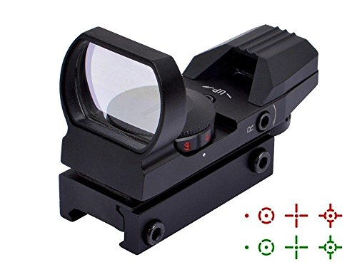 Hauska Rot Grün Dot Reflex Sight Leuchtpunkt Laser Zielvisier Holographic Scope 4 Reticles für Jagd Softair Pistole und Armbrust (schwarz) (Airsoft Gun Sight Red Dot)