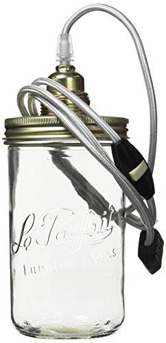 Ma Gartenhaus Stadt Silber Lampe Topf Textil Kabel Glas silber, Glas, silber, S