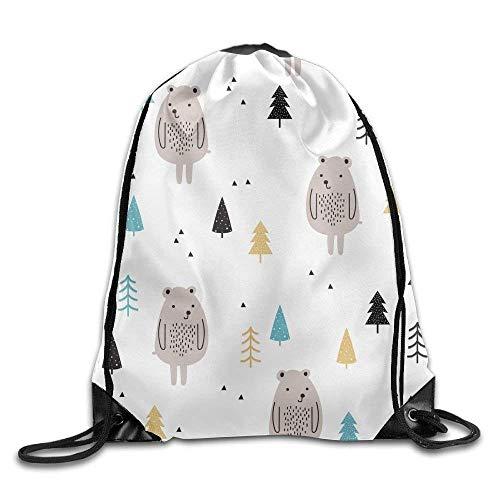 Etryrt Prämie Turnbeutel/Sportbeutel, Drawstring Bags Gym Bag Travel Backpack Cute Bear Trees Grey White Ladies Backpacks for Teen Kids