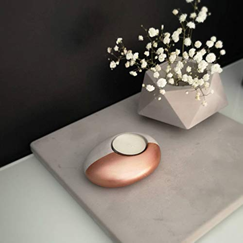 Teelicht Kerzenhalter Aus Beton Rotgold, Rosegold Teelichthalter Aus Zementstein