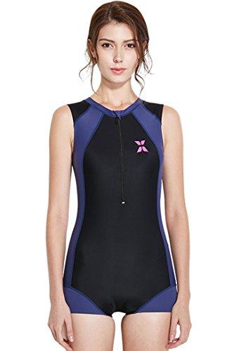 Bademode-körper-handschuh (Badeanzug mit Reißverschluss Ein Stück Ärmellos Rash Guard Sportlicher Bademode Bein Hotpants Schwimmanzug)