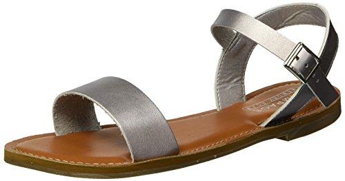 Rampage Damen Malta Ankle Strap Open Toe Flat with Memory Foam Flache Sandale, Silber/Metallic, 38 EU -