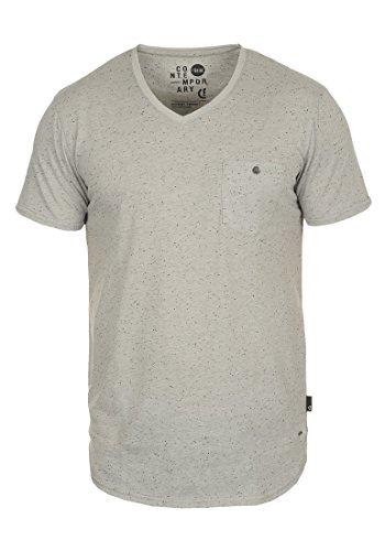 !Solid Tedros Herren T-Shirt Kurzarm Shirt mit V-Ausschnitt aus 100% Baumwolle, Größe:S, Farbe:Light Grey (2325) -