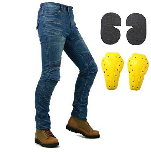 Hombre Motocicleta Pantalones Moto Pantalón Mezclilla Jeans Con Azul (L- (Waist 34.5