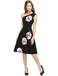 7454092da34 MisShow Robe de Soirée Epaule Nu Sexy Chic Mi Longue Imprimée à Fleurs Swing  en Coton