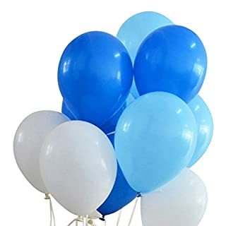 Shengchu Latex Balloons,12-inch,100-pack,pearl white and blue and light blue (white,blue,light blue)