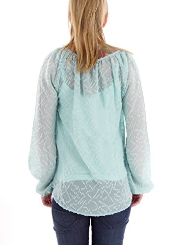 khujo - Top à manches longues - Uni - Col Boutonné - Manches Longues - Femme turquoise bleu clair Small bleu clair