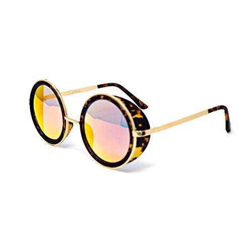 Ultra Steampunk Sonnenbrille Havanna mit Rot gespiegelten Beschichtung -