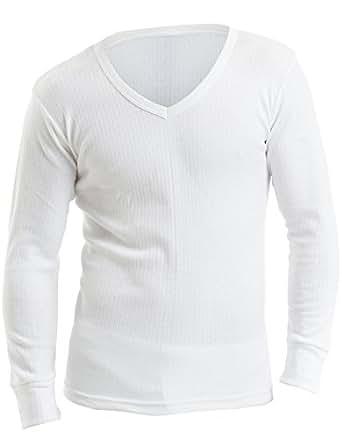 3 lots de T-Shirts blancs de dessous pour hommes thermolactiles à manches longues et encolure en V, Small