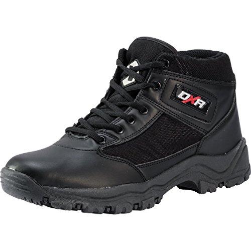 DXR Motorradstiefel Schnürschuh, Motorradschuhe, robuster Freizeit- und Szene-Stiefel, Labeling und Rubber-Logo, rutschfeste Gummiprofilsohle, abriebfestes Material, schwarz, 45