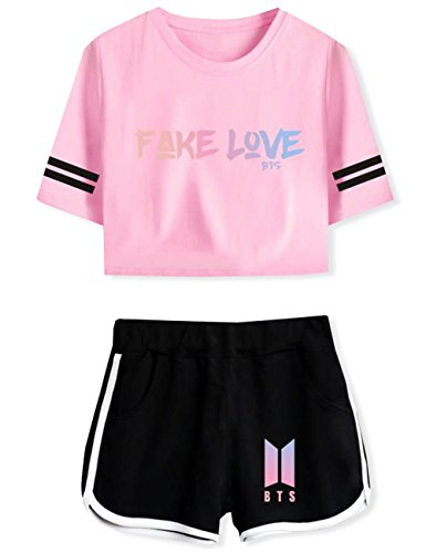 Herqw61 Damen BTS Bangtan Boys T-Shirt & Kurze Hose Set Kurzarm Crop Top & Shorts Sommer Oberteile & Jogginghose Sport Set S Rosa01