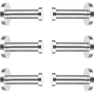 eBoot 6 Stück Wandhaken aus Rostfreiem Stahl, Kleiderhaken, Wandhaken, Nickel, Gebürstetes Nickel (Silber, 2 Zoll)