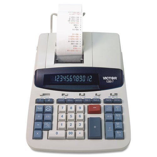 12-Digit Calculator,2-Print/Display,8-1/2 quot;x12-1/4 quot;x3 quot;,White by Victor?·??