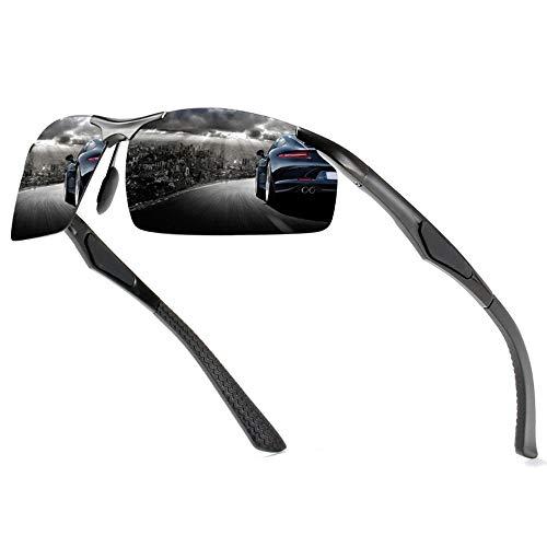 Zona Elegent Herren-Blackout-Sonnenbrille Ohne Grenzen Ultraleichte, Bequeme Outdoor-Sportarten Fahren Reiten Sonnenbrille Strand Meer UV400-Schutz Bezaubernd (Farbe : Black)