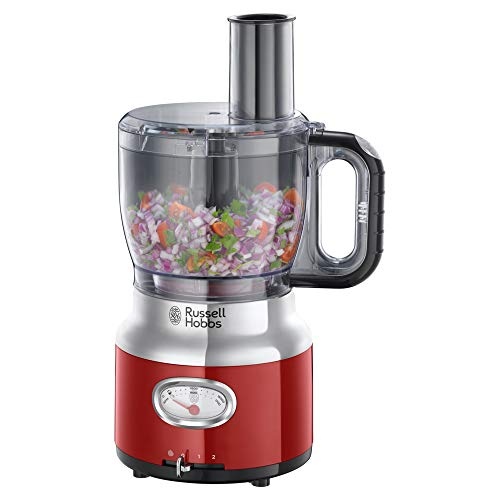 Russell Hobbs 25190-56 Glas-Standmixer Retro Ribbon Red, Retro-Anzeige, Impulse-/Ice-Crush-Funktion, 3 Geschwindigkeitsstufen, 1,1 PS-Motor, 1.5l Glasbehälter, Edelstahl/rot