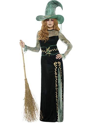 erdbeerclown - Damen Frauen Kostüm Hochwertiges Hexen Zauberin Magierin Kleid mit Hut und Gürtel, Deluxe Emeral Witch Costume, perfekt für Halloween Karneval und Fasching, M, Grün