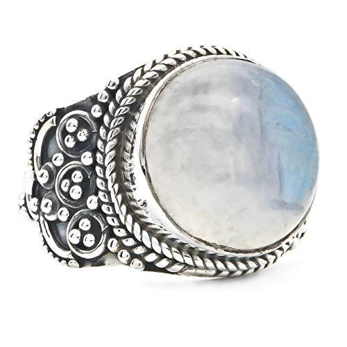 Anillo de plata de ley 925 Piedra de luna blanca (MRI 148), Ringgröße:60 mm/Ø 19.1 mm