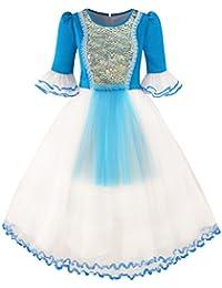 Sunny Fashion Robe Fille Neige Blanc Princesse Dessin animé Sirène Partie Costume Balle 3-14 ans