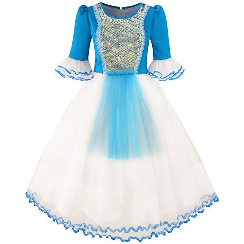 Mädchen Kleid Schnee Weiß Prinzessin Karikatur Meerjungfrau Party Kostüm Ball Gr. 158