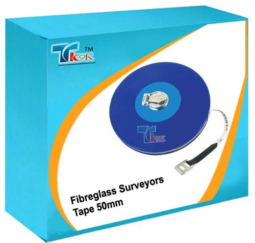 Measuring Long Tapes Fibreglass Surveyors Tape 50 meter 50m Durable, vinyl-coated steel casing and 12mm wide fibreglass tape coated with PVC for durability and easy cleaning. Folding metal claw and handle. Impervious to water, crease-resistant and marked with metric and imperial graduations. by SILVERL -