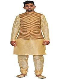 89ba90c8 INYOUR Men's Silk Copper Gold Waiscoat,Multi Dupin Kurta,Multi Dupin Pajama  Set_INYOUR-