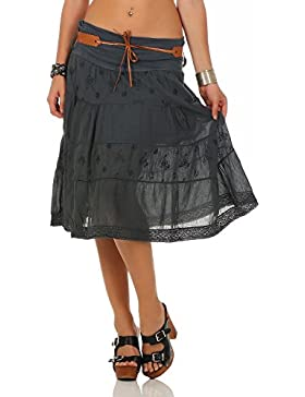ZARMEXX Falda del verano de la falda de algodón de las señoras decorativo hasta la rodilla con cinturón de algodón...