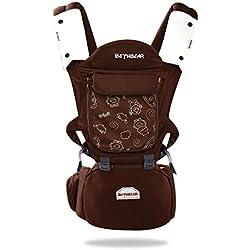 SONARIN 3-en-1 Multi-Function Premium Baby Carrier con asiento de cadera desmontable, respaldo de malla transpirable, ergonómico, 100% algodón, taburete inflable, seguro y cómodo, se adaptan al crecimiento de su hijo, regalo ideal(Marrón)