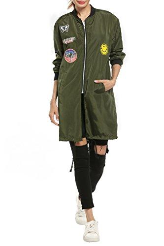 Meaneor Damen Lang Bomberjacke Bombermantel Motorradfahrer Jacke Übergangsjacke Reißverschluss Mantel Taschen Zeichen mit Patch, Armee Grün, EU 40(Herstellergröße: L)