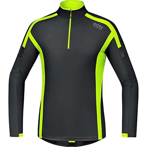 Gore Running Wear Air Zip - Camiseta de manga larga para hombre, color negro / amarillo, talla L