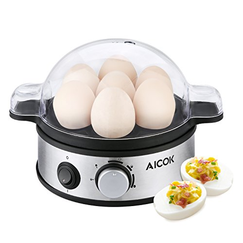 Aicok Eierkocher, Multifunktions-Elektro-Ei-Kessel, Edelstahl-Ei-Dampfer, Rapine Egg Poacher mit 7 Ei-Kapazität und Timer
