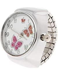 WEISHAZI - Reloj analógico de cuarzo para mujer con anillo de dedo y mariposa, elástico, regalo creativo de acero