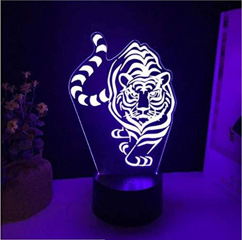 Tiger Led 3D Luz De La Noche 7 Cambio De Color Touch Usb...
