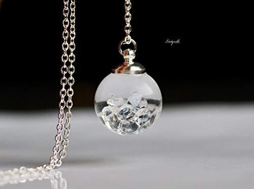 Wasser Kette Quarz Kristalle im Glasball/Aquarium Kette/Geschenk Geburtstag/Besonderes Geschenk/originelles geschenk (Quarz-diamant-halskette)