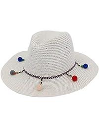 Sombrero De Paja para Mujer Elegante con Solar Sombrero Protector Ancho Exquisito Acogedor Borde Tela Ocio Moda Verano Sombrero Sombrero De Playa para Vacaciones