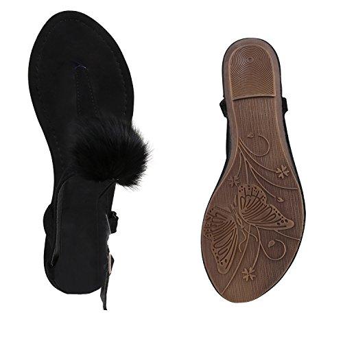 Damen Sandaletten Keilabsatz Metallic Strass Sommerschuhe Wedges Schwarz Plüsch