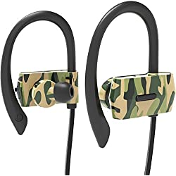 Heiyo Auriculares inalámbricos Bluetooth, auriculares de oído auriculares de deporte con micrófono de control remoto, IPX4 Sweatproof y CVC6.0 auriculares ligeros de cancelación de ruido para el ejercicio y el funcionamiento - Camo